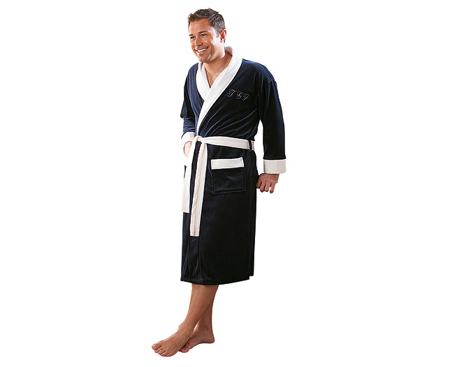 Mens Velour Dressing Gown Sporty The Dabbler