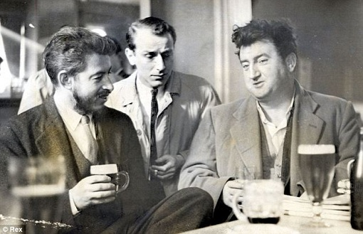 J P Donleavy (l) with Brendan Behan (r) and Philip Wiseman