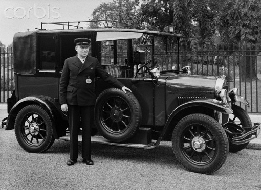 Taxi Driver and Writer Herbert Hodge with His Taxi