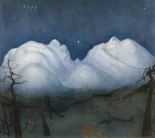 """Harald Sohlberg, """"Winter Night in the Mountains"""" (1924)"""
