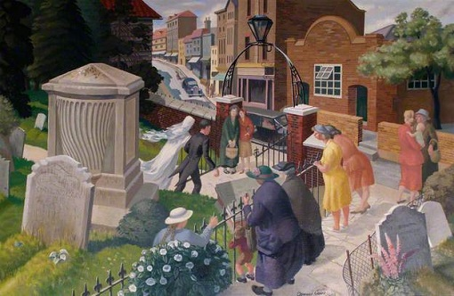 "Osmund Caine, ""Wedding at Twickenham Parish Church"" (1948)"