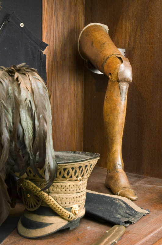 The Anglesey Leg, the world's first articulated wooden leg, in the Cavalry Museum at Plas Newydd, on the Isle of Anglesey, Wales