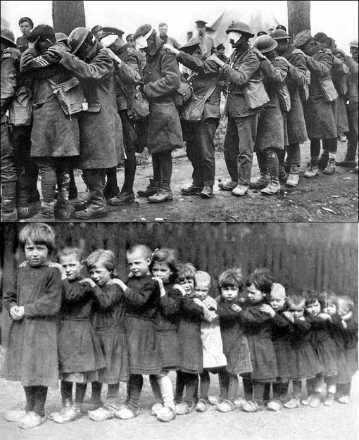 Above - Tommies blinded by mustard gas; Below - French children orphaned late in the war
