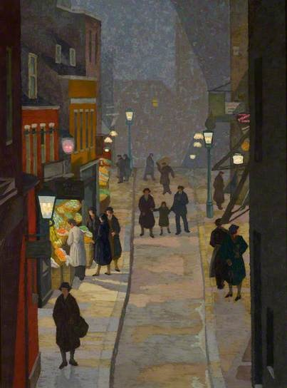 "Charles Ginner -  ""Flask Walk, Hampstead, at Night"" (1933)"