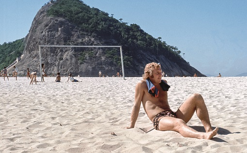 Bobby Moore relaxing on the Copacabana beach on holiday in Rio De Janeiro, Brazil  July 1971