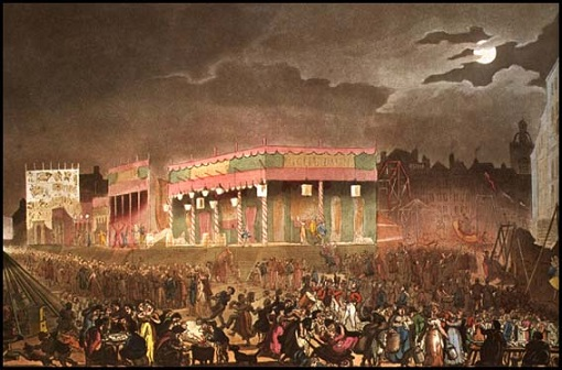 Rudolf Ackermann, Bartholomew Fair, from Microcosm of London (1808)