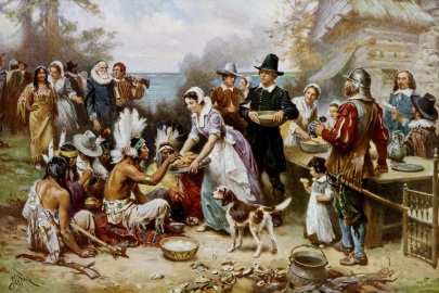 'The First Thanksgiving 1621' - a historically inaccurate painting Jean Leon Gerome Ferris (1899)