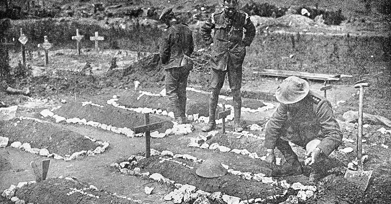 Army Chaplain tending British graves.