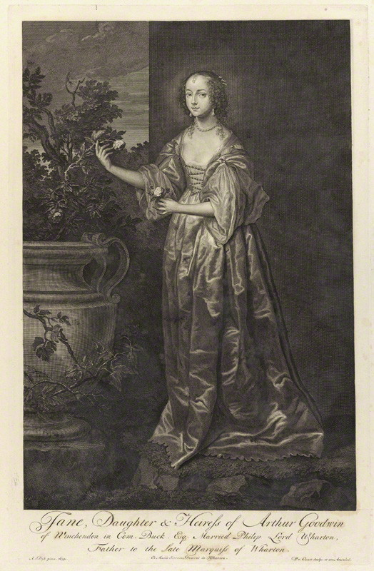 NPG D34292; Jane Wharton (nÈe Goodwin), Lady Wharton by Pieter Stevens van Gunst, after  Sir Anthony Van Dyck