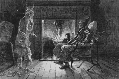 """""""What do you want with me?"""" by E. A. Abbey (1876)  (Marley's Ghost visiting Scrooge)"""