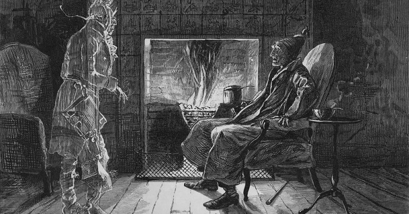 """What do you want with me?"" by E. A. Abbey (1876)  (Marley's Ghost visiting Scrooge)"