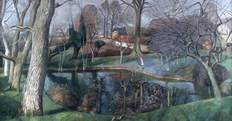 """John Aldridge, """"Besslyn's Pond, Great Bardfield"""" (c. 1950)"""