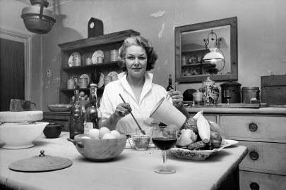 Elizabeth David shot in her kitchen in Halsey St Chelsea